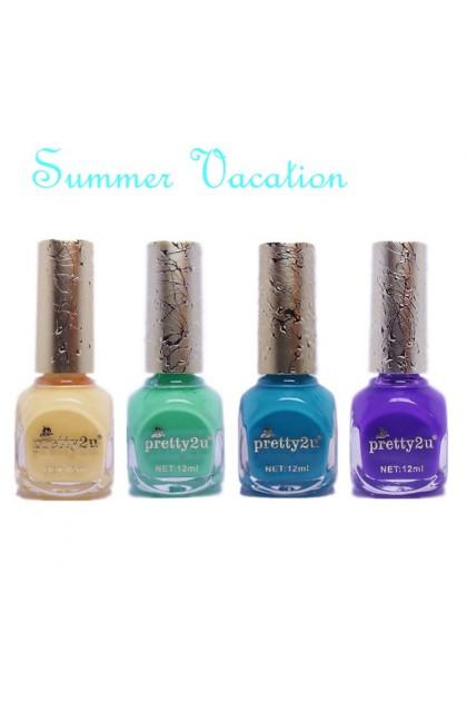 Pretty2u Summer Vacation Fashion Bright Nail Polish 12ml Color 10 - 24 美甲甲油 炫丽夏日假期显色靓丽甲油