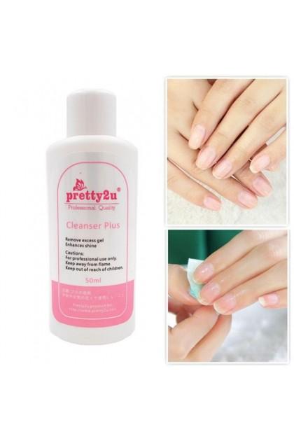 Pretty2u Liquid Solution Cleanser Plus Enhance Shining Of Gel Top Coat Remove Excess Sticky Gel 50ml 美甲 洗胶剂 清洁多余胶