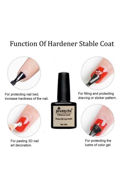 Pretty2u Nail Hardener Gel Stable Coat For Strengthen Nail Reinforce Gel Prevent Breakage Crack Nail 美甲甲油 加固胶