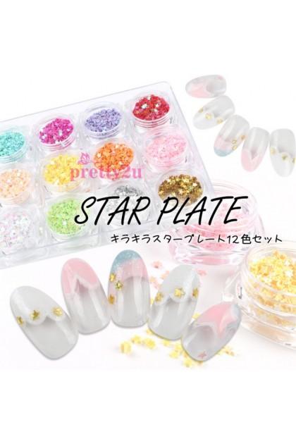 Nail Art 12 Color Mini Star Confetti Tiny Star Sprinkles Glitter Flakes Nail Decoration Set 美甲饰品 闪亮星星12色套装