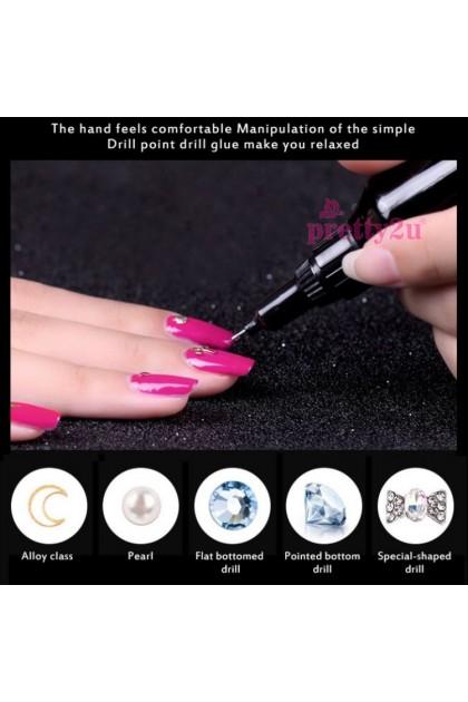 Nail Art Accessories UV Gel Glue Rhinestone Adhesive LED Point Drill Gel Nail Decoration Tool 美甲饰品电钻胶