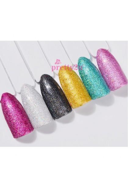 Nail Art Glitter Holographic Candy Sugar Sandy Powder Nail Shining 6PCS Set 美甲彩色镭射闪粉砂糖粉套装
