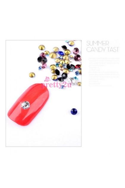 Nail Accessories 3D Super Shine Sharp Base Crystal Rhinestones 2mm 3mm Mix Color Nail Art DIY Tool Set 美甲饰品 立体尖底彩钻闪亮水晶套装