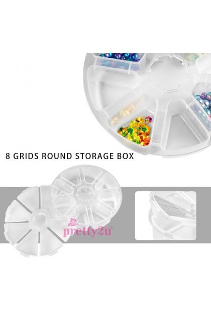 Nail Accessories 8 Compartment Round Jewelry Organizer Box Rhinestones Nail Decoration Container Case 美甲饰品8格圆形收纳盒