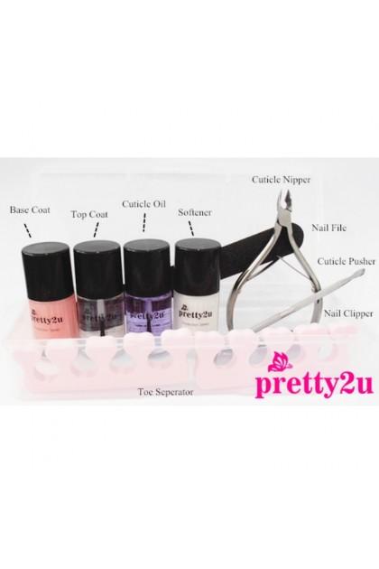 Pretty2u Complete Manicure Pedicure Nail Care Treatment Tool Kit Set 美甲修甲系列 死皮剪 死皮推 指甲挫软化剂 营养油完整套装