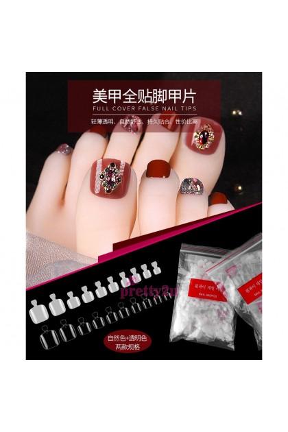 Toe Nail Tips 500PCS Artificial Nail Foot Tips Fake Nail Set 10 Sizes 美甲500片脚甲贴